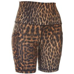 Womens Animal High Waist Biker Shorts