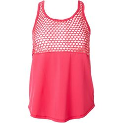 Yogalicious Womens Solid Mesh Yoke Tank Top