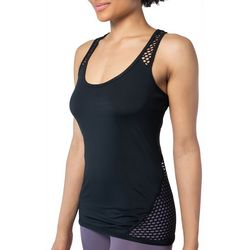 Yogalicious Womens Solid Mesh Trim Tank Top