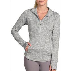 Yogalicious Womens Space Dye 1/4 Zip Mock Neck Jacket
