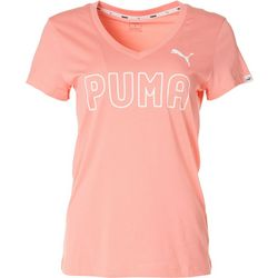 Puma Womens Logo V-Neck Graphic Tee