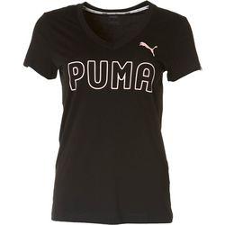 Puma Womens Logo V-Neck Graphic Tee