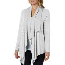 Cupio Womens Solid Open Front Long Sleeve Cardigan