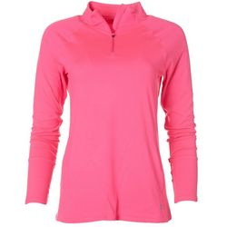 Womens Ultra Comfort 1/4 Zip Mock Neck Top