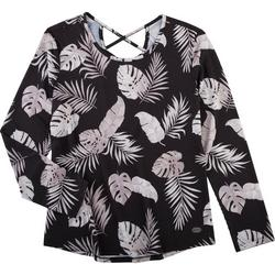Coral Bay Womens tropical Criss Cross 3/4 Sleeve Top