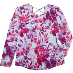 Coral Bay Womens Floral Criss Cross 3/4 Sleeve Top