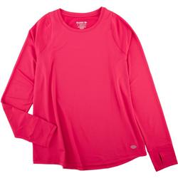 Solid Womens V-Neck Long Sleeve Top
