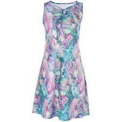 Womens Marbled Print Dress