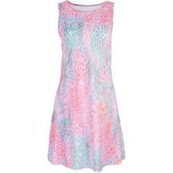 Womens Coloful Leaopard Print Keyhole Dress