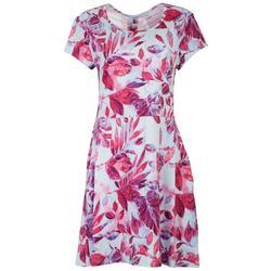 Womens Floral Printed Short Sleeve Dress