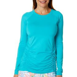 Reel Legends Womens Keep It Cool Cascade Palms Ruched Top