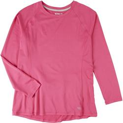 Womens Solid Crew Neck Long Sleeve With Pocket