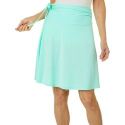Womens Solid Tie Waist Convertible Skirt