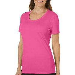 Womens Freeline Solid Scoop Neck Textured Top