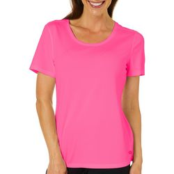 Reel Legends Womens Freeline Solid Scoop Neck Textured Top