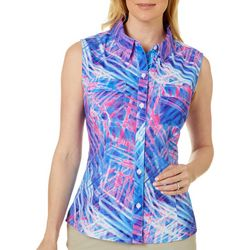 Reel Legends Womens Saltwater Pretty Palms Sleeveless Top
