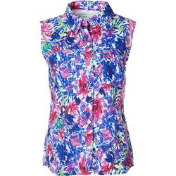 Reel Legends Womens Saltwater Painted Floral Sleeveless Top