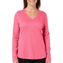 Reel Legends Womens Freeline Shimmer V-Neck Long Sleeve Top