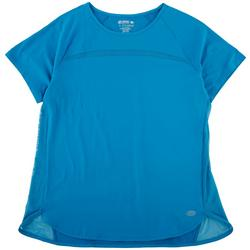 Womens Solid Short Sleeve With Mesh Detail