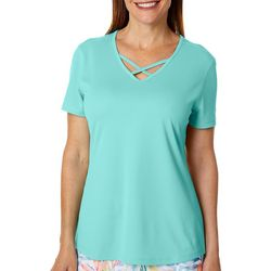 Reel Legends Womens Freeline Solid Lattice Neck Top