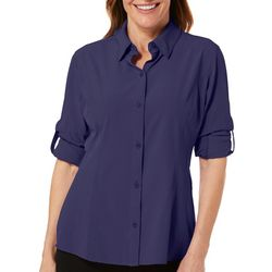 Reel Legends Womens Adventure Long Sleeve Button Down Top