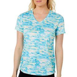 Reel Legends Womens Freeline Watercolor Waves V-Neck Top