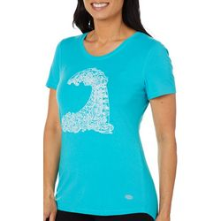 Reel Legends Womens Sketched Wave Graphic Top