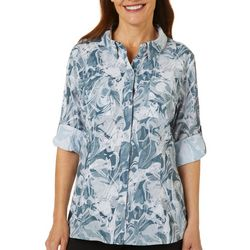 Reel Legends Womens Adventure Marble Print Button Down Top