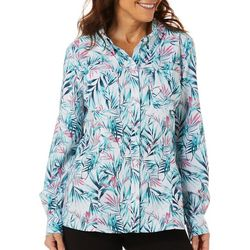 Reel Legends Womens Adventure Palm Print Button Down Top