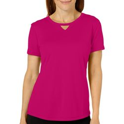 Reel Legends Womens Freeline Solid Keyhole T-Shirt