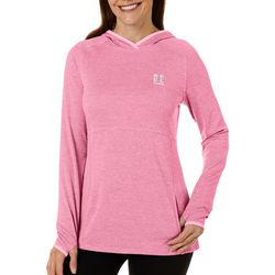 Reel Legends Womens Freeline Checked Hooded Long Sleeve Top