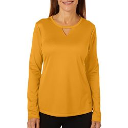 Reel Legends Womens Freeline Solid Keyhole Long Sleeve Top