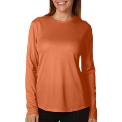 Reel Legends Womens Freeline Solid Crew Neck Long Sleeve Top