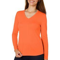 Womens Freeline Solid V-Neck Long Sleeve Top