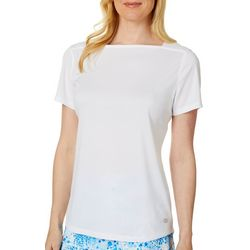 Reel Legends Womenss Freeline Solid Square Neck T-Shirt