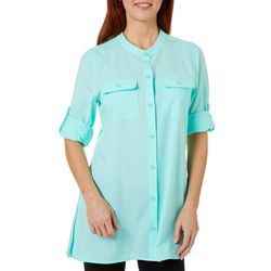 Womens Beach Day Chest Pocket Button Down Top