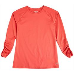 Womens Solid Crew Neck Long Sleeve