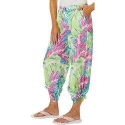 Reel Legends Womens Sketched Palms Beach Day Tie Pant