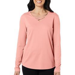Womens Freeline Solid Lattice Long Sleeve Top