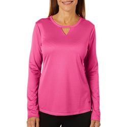 Womens Freeline Solid Keyhole Long Sleeve Top