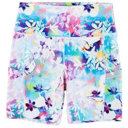 Reel Legends Womens Keep It Cool Orchid Florals Bike Shorts