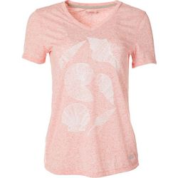 Reel Legends Womens Seashell V-Neck Short Sleeve Top