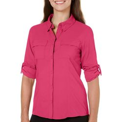 Womens Saltwater Chest Pocket Button Down Top