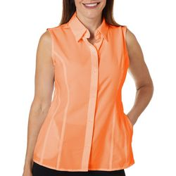 Reel Legends Womens Saltwater Solid Sleeveless Top