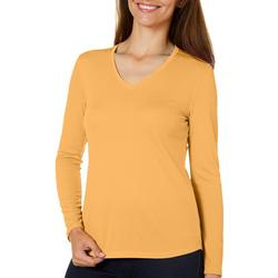 Womens Freeline Solid V-Neck Long Sleeve Top