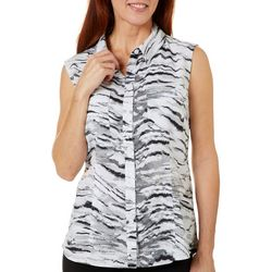 Reel Legends Womens Saltwater Ink Wash Sleeveless Top