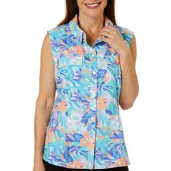 Reel Legends Womens Saltwater Moving Floral Sleeveless Top