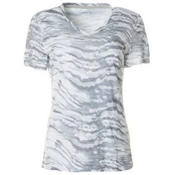 Reel Legends Womens Ink Waves Ribbed V-Neck Top