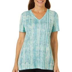 Reel Legends Womens Blurred Lines Ribbed V-Neck Top