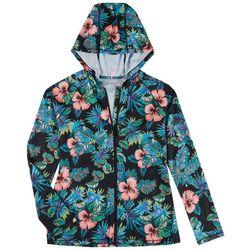 Reel Legends Womens Zip-up Hooded Long Sleeve Aloha Top